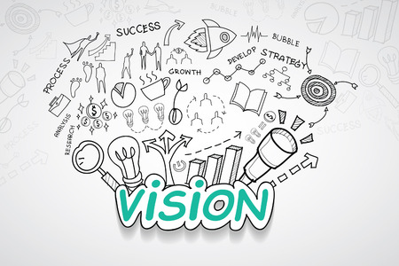 Vision text, With creative drawing Illustration