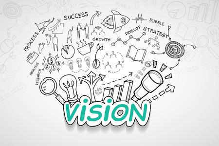 Vision-Text, mit kreativen Zeichnung Illustration