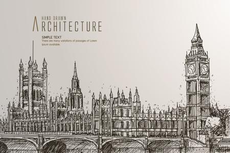 ビッグベン、国会議事堂、ロンドンのウェストミン スター ・ ブリッジ  イラスト・ベクター素材