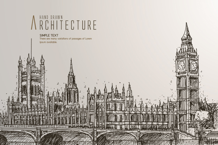 palace of westminster: The Big Ben, the Houses of Parliament and Westminster Bridge in London Illustration