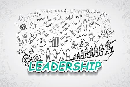 リーダーシップ テキスト、創造的な図面