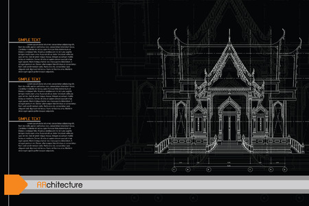 3d temple: sketch design of temple,vector
