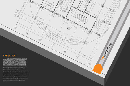 drawing table: Architectural background on drawing table. Vector.