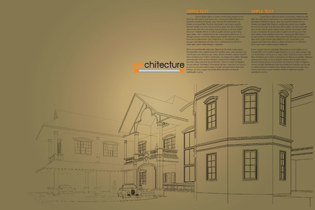 drawing table: sketch design of home on drawing table,vector