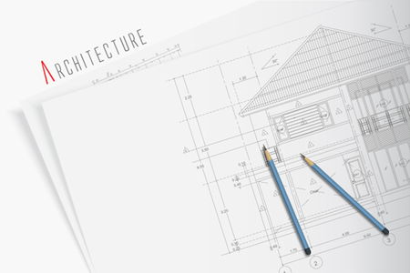 townhomes: Architectural blueprints and two blue pencils Illustration