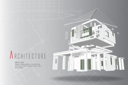 建築図面上のカット住宅の3D アイソメ図。