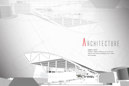 construction project: 3D isometric view of the cut public building on architect drawing.