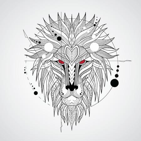Gepatroon hoofd van de leeuw op witte achtergrond. Afrikaans  Indisch  Totem  Tattoo Ontwerp. Het kan gebruikt worden voor het ontwerpen van een t-shirt, een zak, een postkaart, een poster enzovoort.
