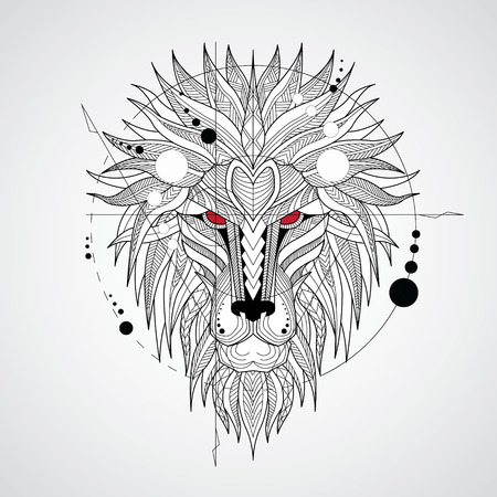 Patterned head of the lion on white background. African  indian  totem  tattoo design. It may be used for design of a t-shirt, bag, postcard, a poster and so on.