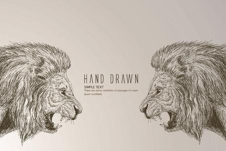 手描き下ろしライオン ヘッド。