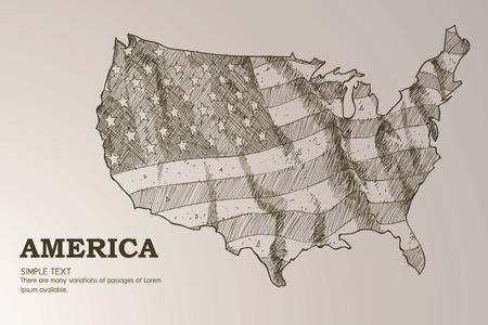 イラストを振ったアメリカンマップフラッグ。  イラスト・ベクター素材