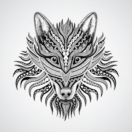 白い背景のオオカミのパターンの頭。アフリカインドトーテムタトゥー デザイン。T シャツ、バッグ、ポストカード、ポスターのデザインなどな  イラスト・ベクター素材