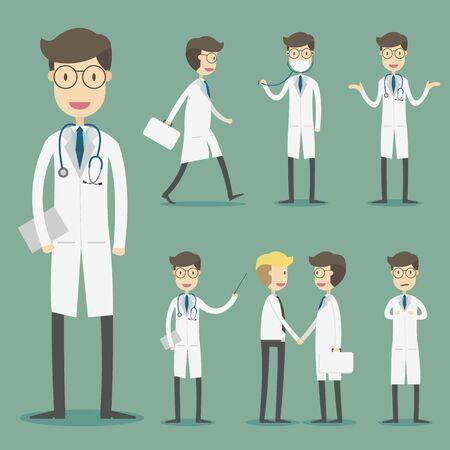 病院での医師のキャラクターのセット。