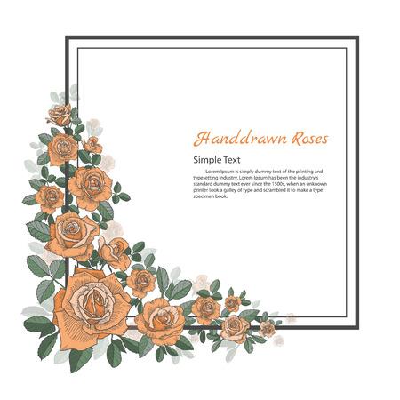 バラの花のフレーム。図面と白い背景の上のスケッチ。