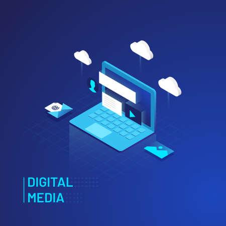 Cloud Computer Digital Media Isometric
