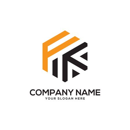 FK initial letter Logo Inspiration, F and K combination logo vector with hexagonal idea