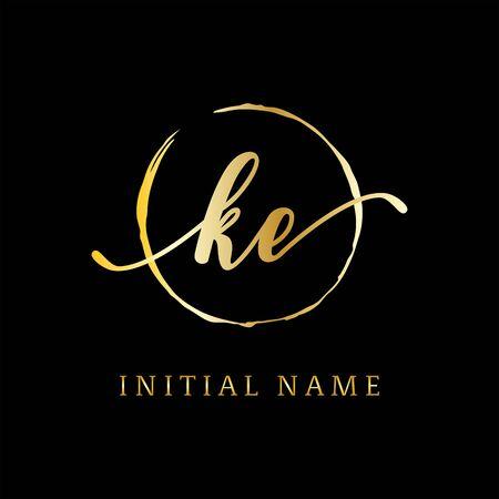 K E beauty logo inspiration, luxury logo design, initial logo name Stock Vector - 130156579