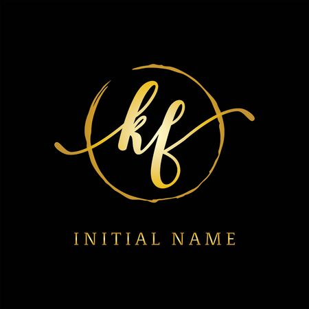 K AND F beauty logo inspiration, luxury logo design, initial logo name Stock Vector - 130156580