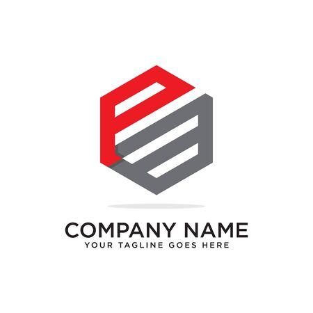 P and B logo design template, initial logo vector, hexagonal logo inspiration