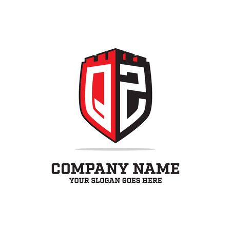 Q Z initial logo designs, shield logo template, letter logo inspirations