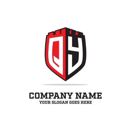 Q Y initial logo designs, shield logo template, letter logo inspirations Illustration