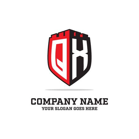 Q X initial logo designs, shield logo template, letter logo inspirations