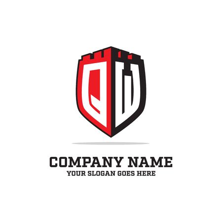 Q W initial logo designs, shield logo template, letter logo inspirations Illustration
