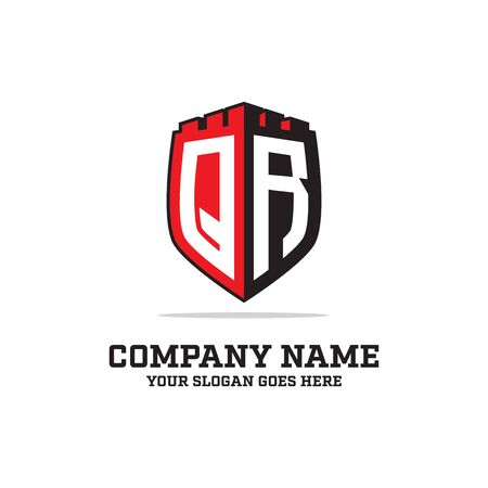 Q R initial logo designs, shield logo template, letter logo inspirations