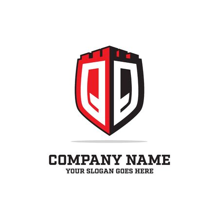 Q Q initial logo designs, shield logo template, letter logo inspirations Illustration