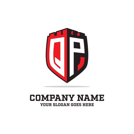 Q P initial logo designs, shield logo template, letter logo inspirations
