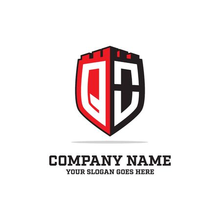 Q O initial logo designs, shield logo template, letter logo inspirations Illustration