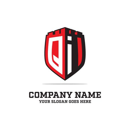 Q I initial logo designs, shield logo template, letter logo inspirations Illustration