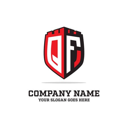 Q F initial logo designs, shield logo template, letter logo inspirations Illustration