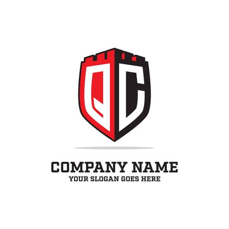 Q C initial logo designs, shield logo template, letter logo inspirations