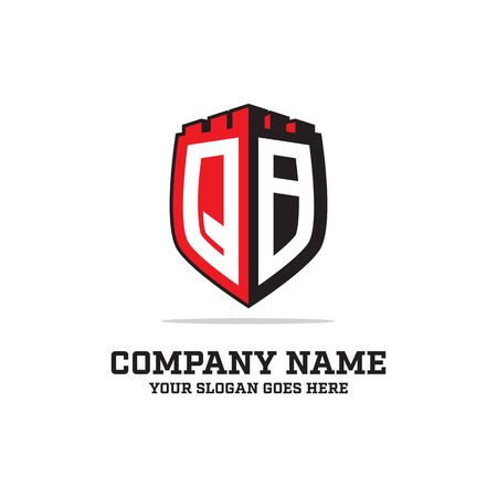 Q B initial logo designs, shield logo template, letter logo inspirations