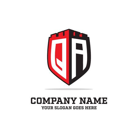 Q A initial logo designs, shield logo template, letter logo inspirations, can used guards, security, emblem logo brand