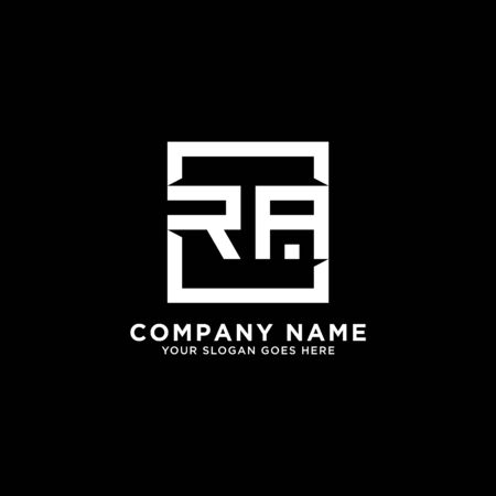 R AND A initial logo inspirations, square logo template, clean and clever logo vector