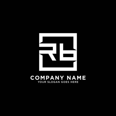 R AND B initial logo inspirations, square logo template, clean and clever logo vector