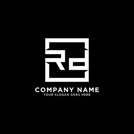 R AND D initial logo inspirations, square logo template, clean and clever logo vector Illustration