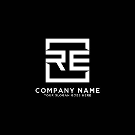 R AND E initial logo inspirations, square logo template, clean and clever logo vector Illustration