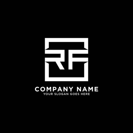 R AND F initial logo inspirations, square logo template, clean and clever logo vector