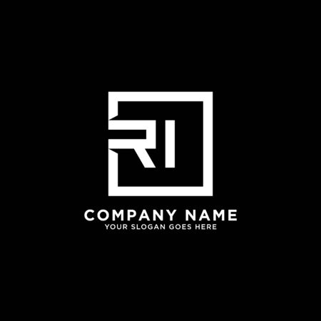 R AND I initial logo inspirations, square logo template, clean and clever logo vector