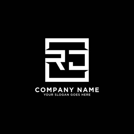 R AND J initial logo inspirations, square logo template, clean and clever logo vector Illustration