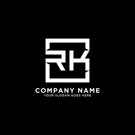R AND K initial logo inspirations, square logo template, clean and clever logo vector