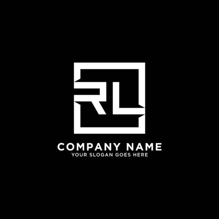 R AND L initial logo inspirations, square logo template, clean and clever logo vector
