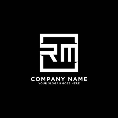 R AND M initial logo inspirations, square logo template, clean and clever logo vector