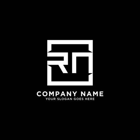 R AND N initial logo inspirations, square logo template, clean and clever logo vector