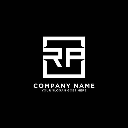 R AND P initial logo inspirations, square logo template, clean and clever logo vector
