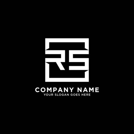 R AND S initial logo inspirations, square logo template, clean and clever logo vector