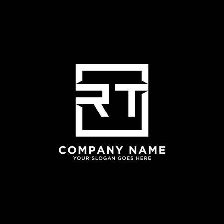 R AND T initial logo inspirations, square logo template, clean and clever logo vector